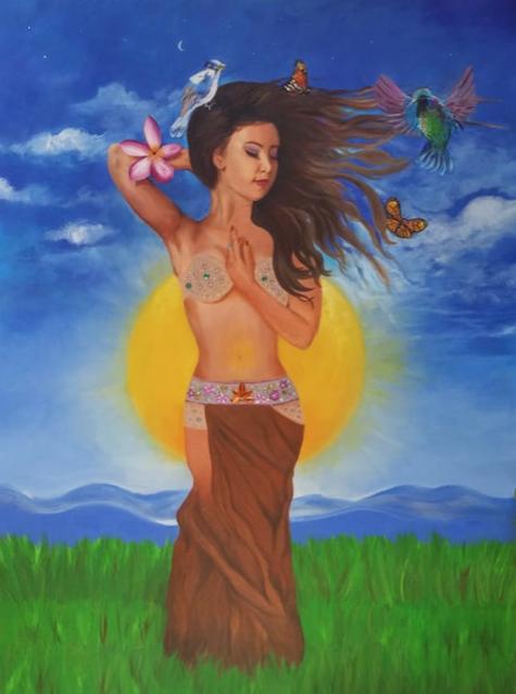 Conexión con la madre tierra (óleo sobre lienzo)